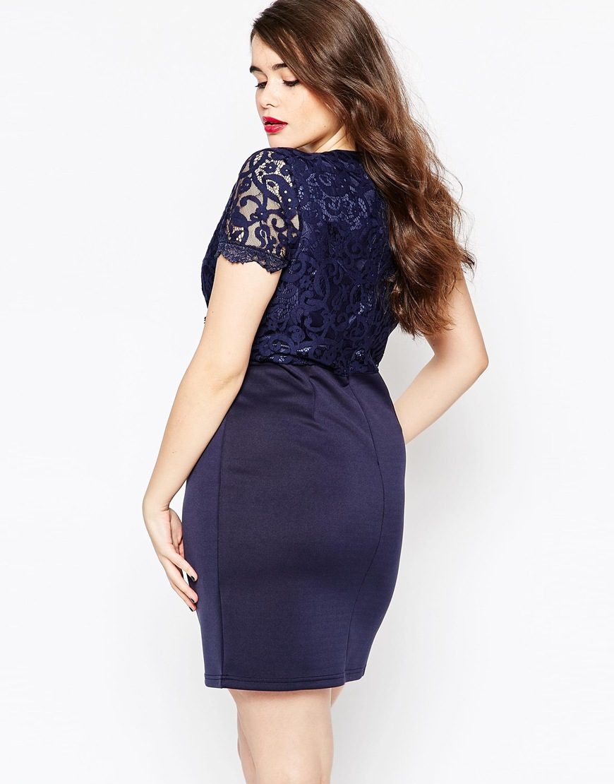 Lyst Club L Plus Size Bodycon Dress With Scallop Lace