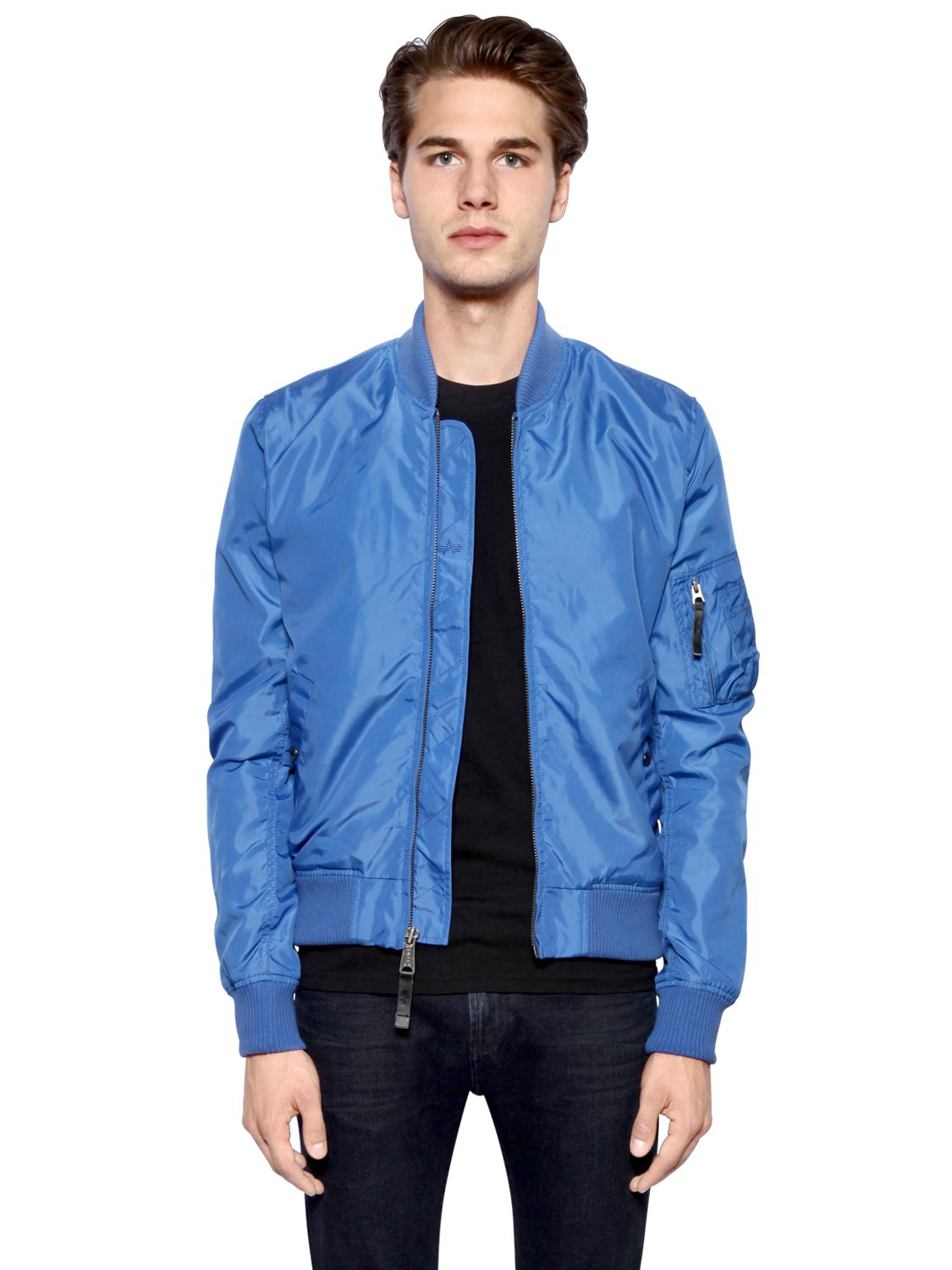 Alpha industries Ma-1 Slim Fit Nylon Bomber Jacket in Blue | Lyst