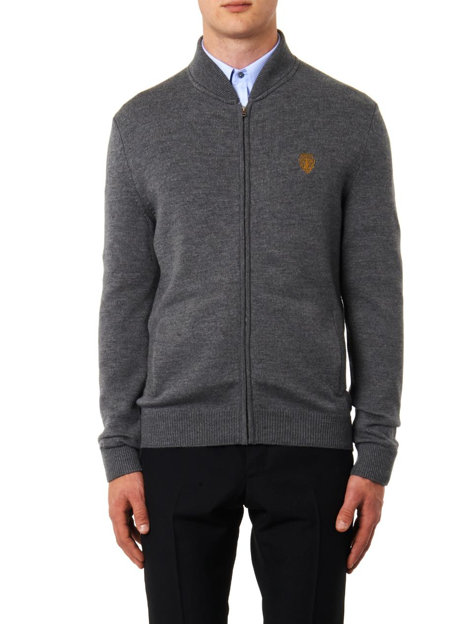 Gucci Wool Zip Sweater in Gray for Men | Lyst
