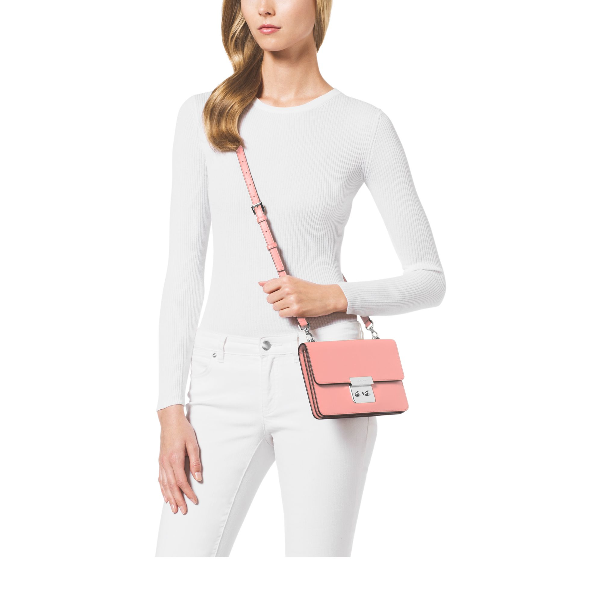 e4af6b2da1487e Michael Kors Sloan Small Calf Leather Cross-Body Bag in Pink - Lyst
