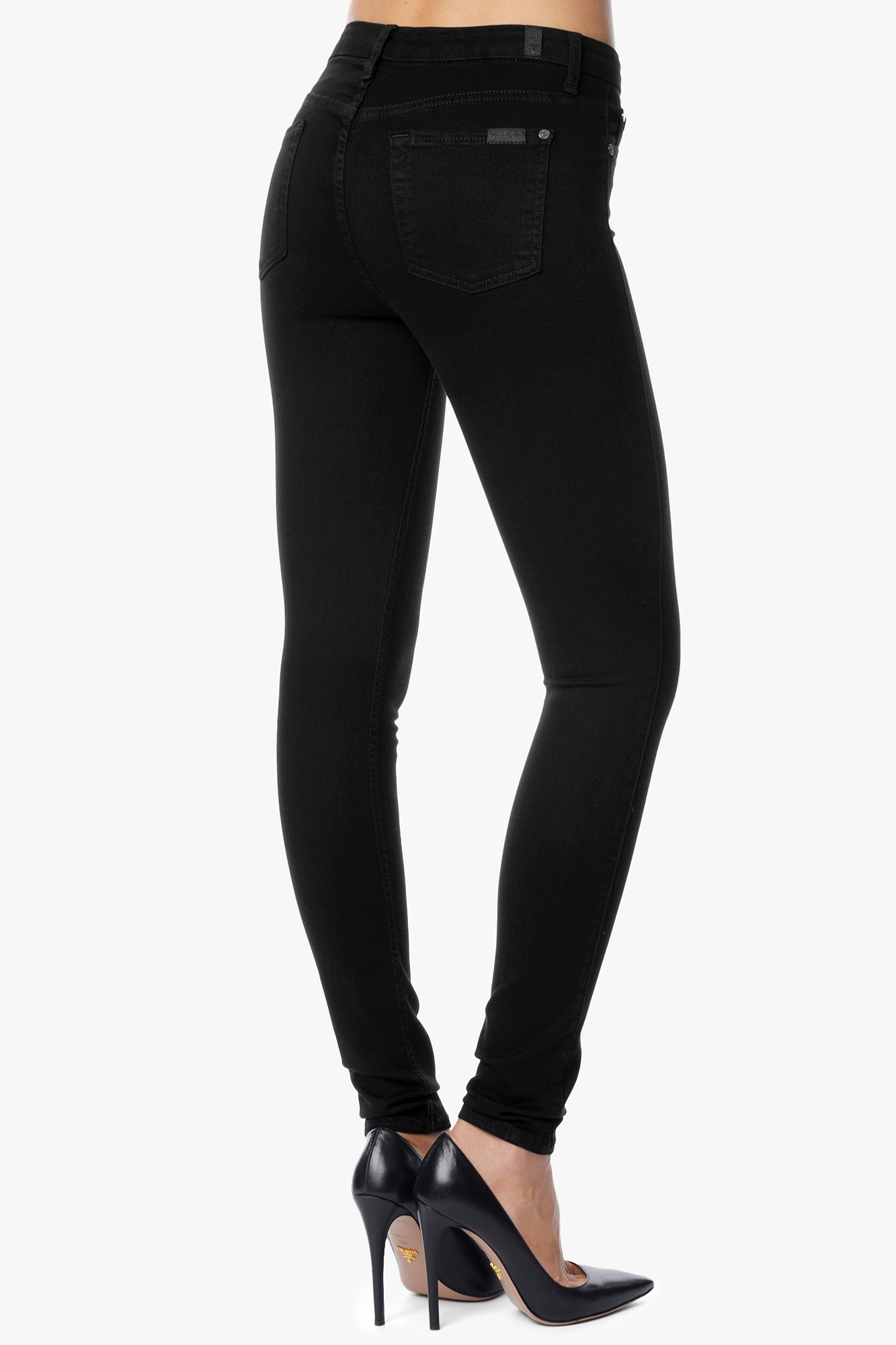 7 for all mankind Slim Illusion Luxe: High Waist Skinny in Black ...