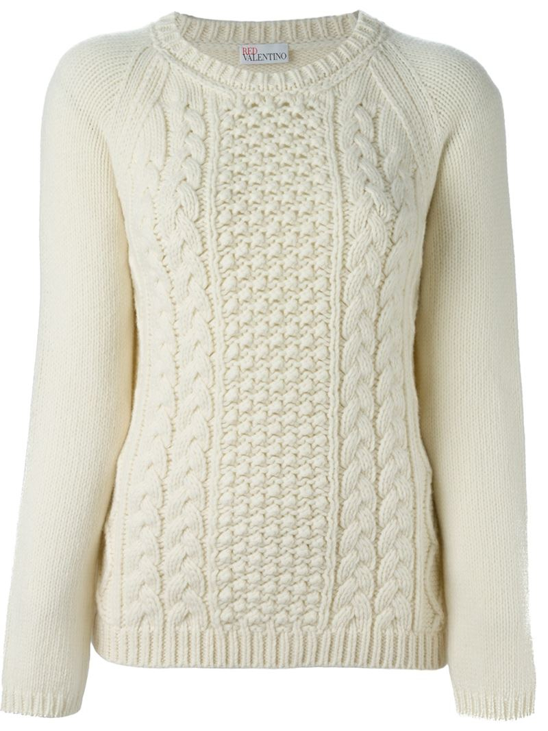 9463c16f131c Lyst - RED Valentino Cable Knit Sweater in Natural