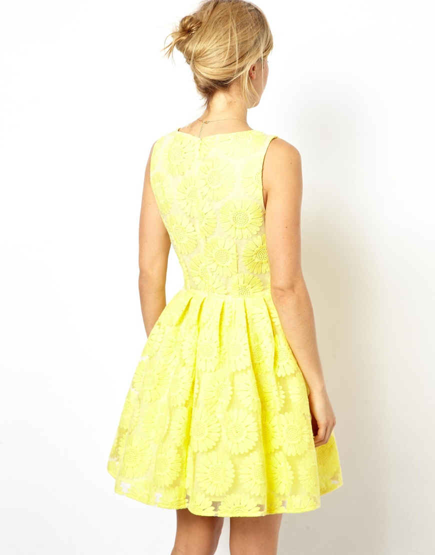 Asos yellow skater dress.