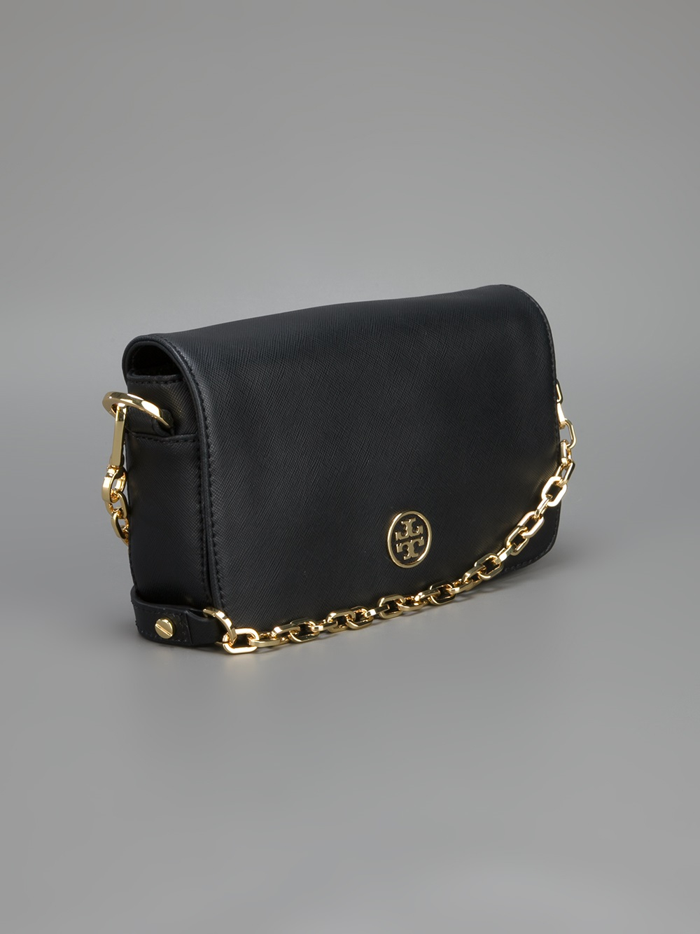 Tory burch Chain Strap Shoulder Bag in Black | Lyst