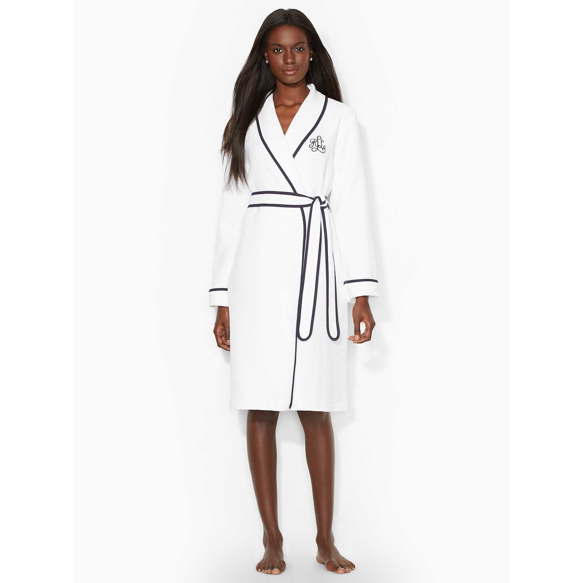 ralph lauren cotton shawl collar robe in white lyst. Black Bedroom Furniture Sets. Home Design Ideas