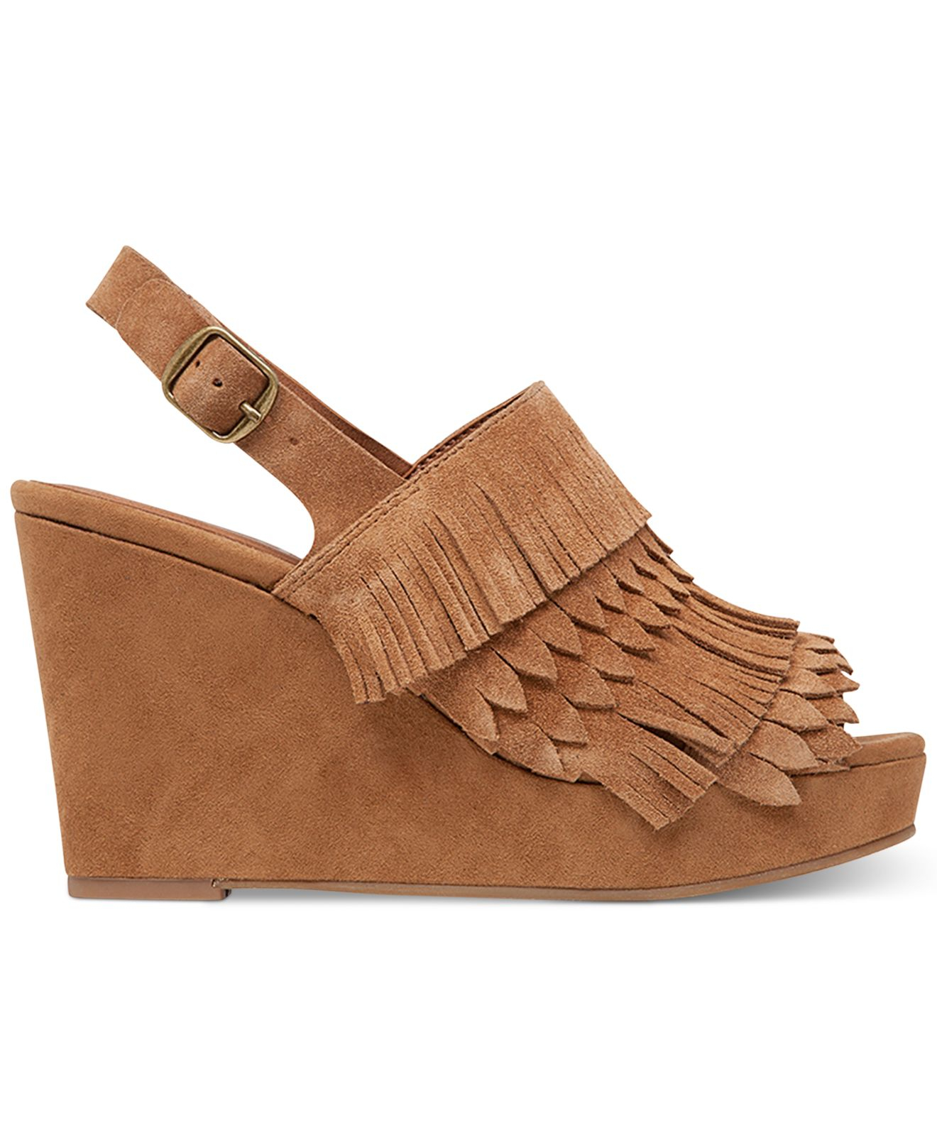 Gallery - Lucky Brand Jeena Fringe Platform Wedge Sandals In Natural Lyst
