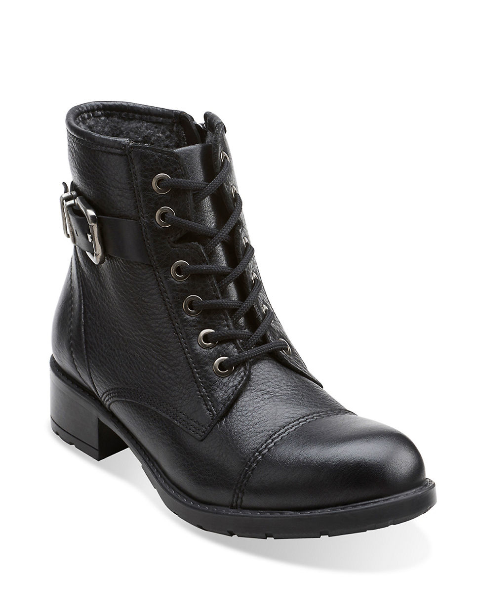 clarks swansea ledge sherpa lined leather combat boots in. Black Bedroom Furniture Sets. Home Design Ideas