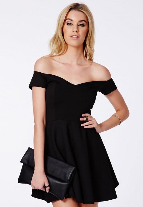 Missguided Satyra Black Bardot Skater Dress in Black | Lyst