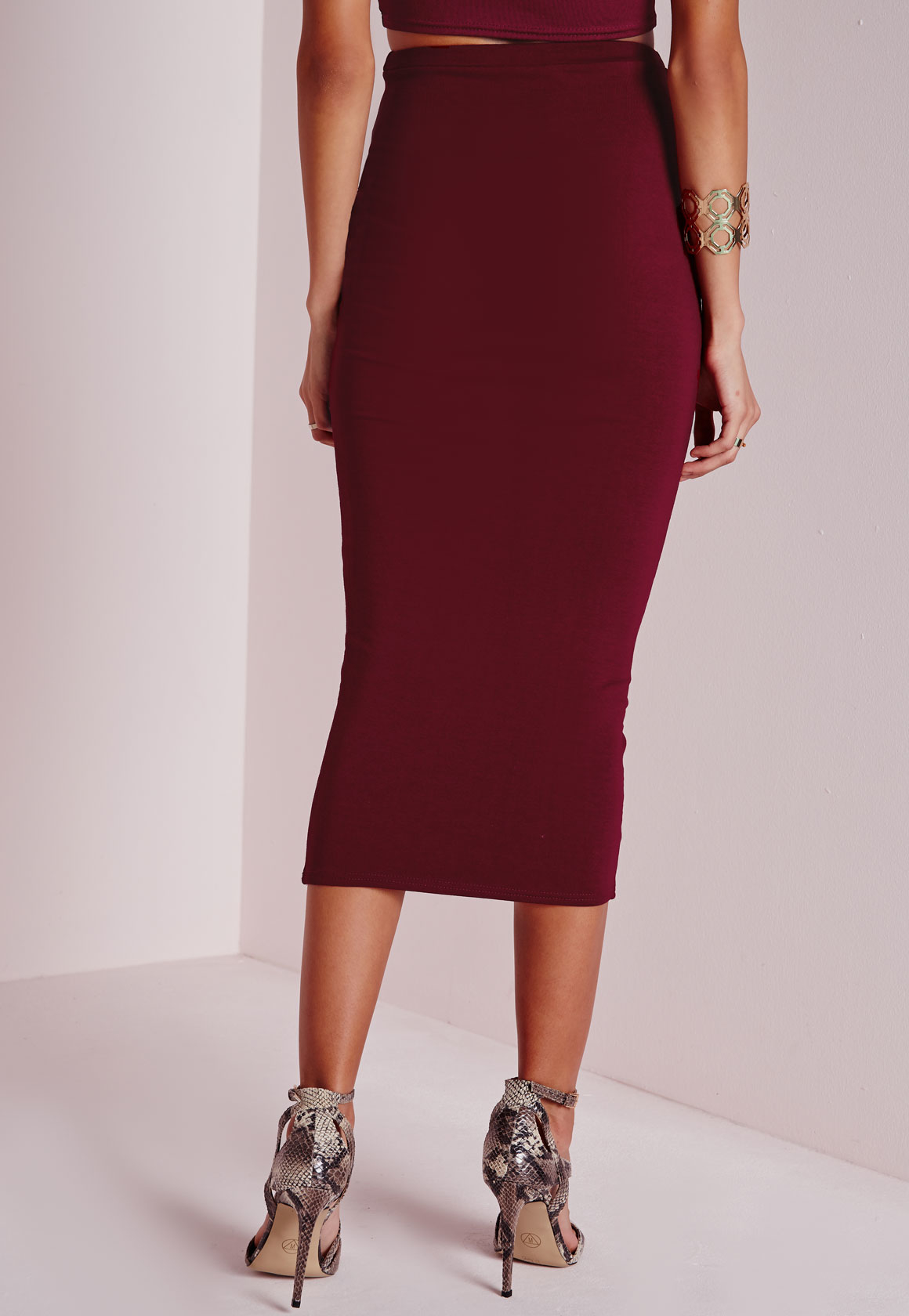 missguided longline jersey midi skirt burgundy in lyst