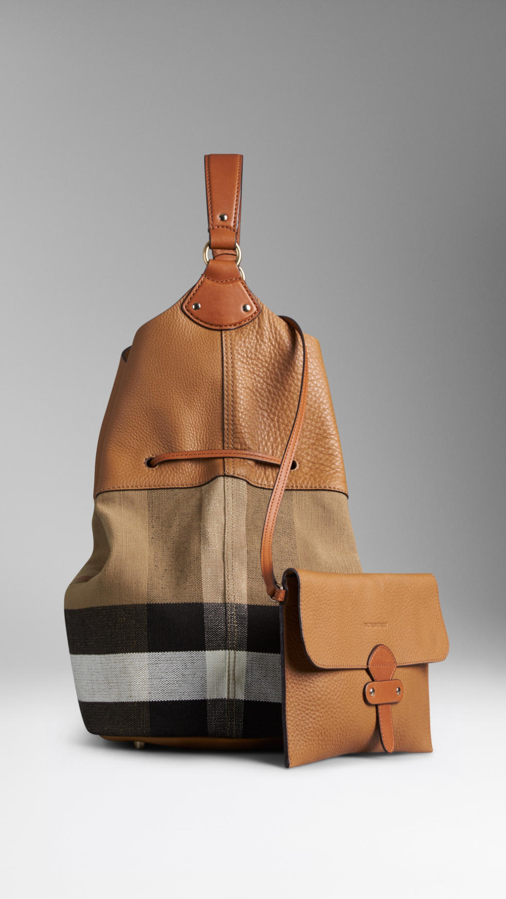 3b28f9e0c09e Burberry The Large Ashby Canvas Check And Leather Bag in Black - Lyst