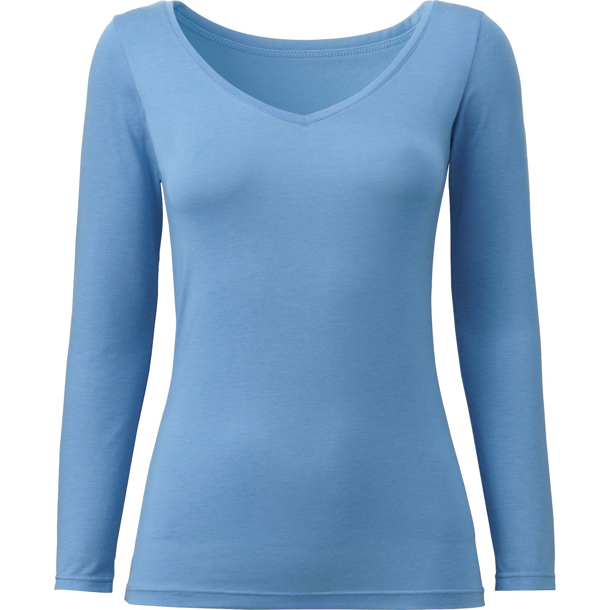 Uniqlo Women Heattech V Neck Long Sleeve T Shirt In Blue