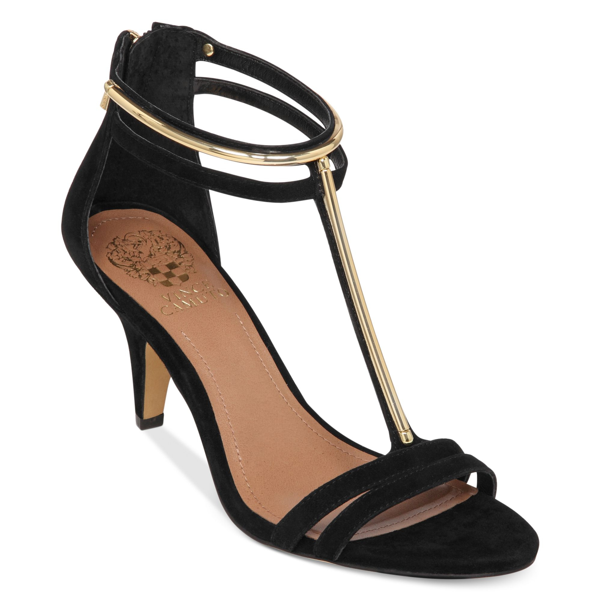 Vince Camuto Mitzy T Strap Evening Sandals In Black Black