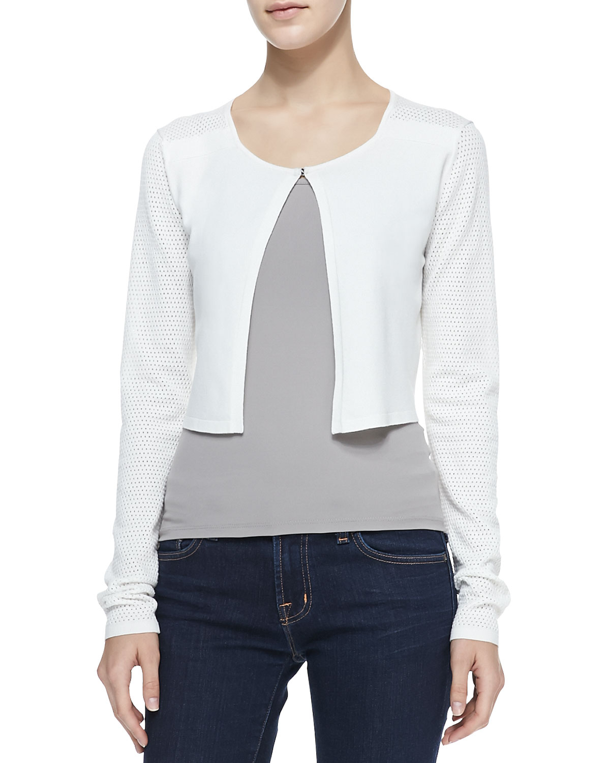 T tahari Eden Cropped Sweater Cardigan in White | Lyst