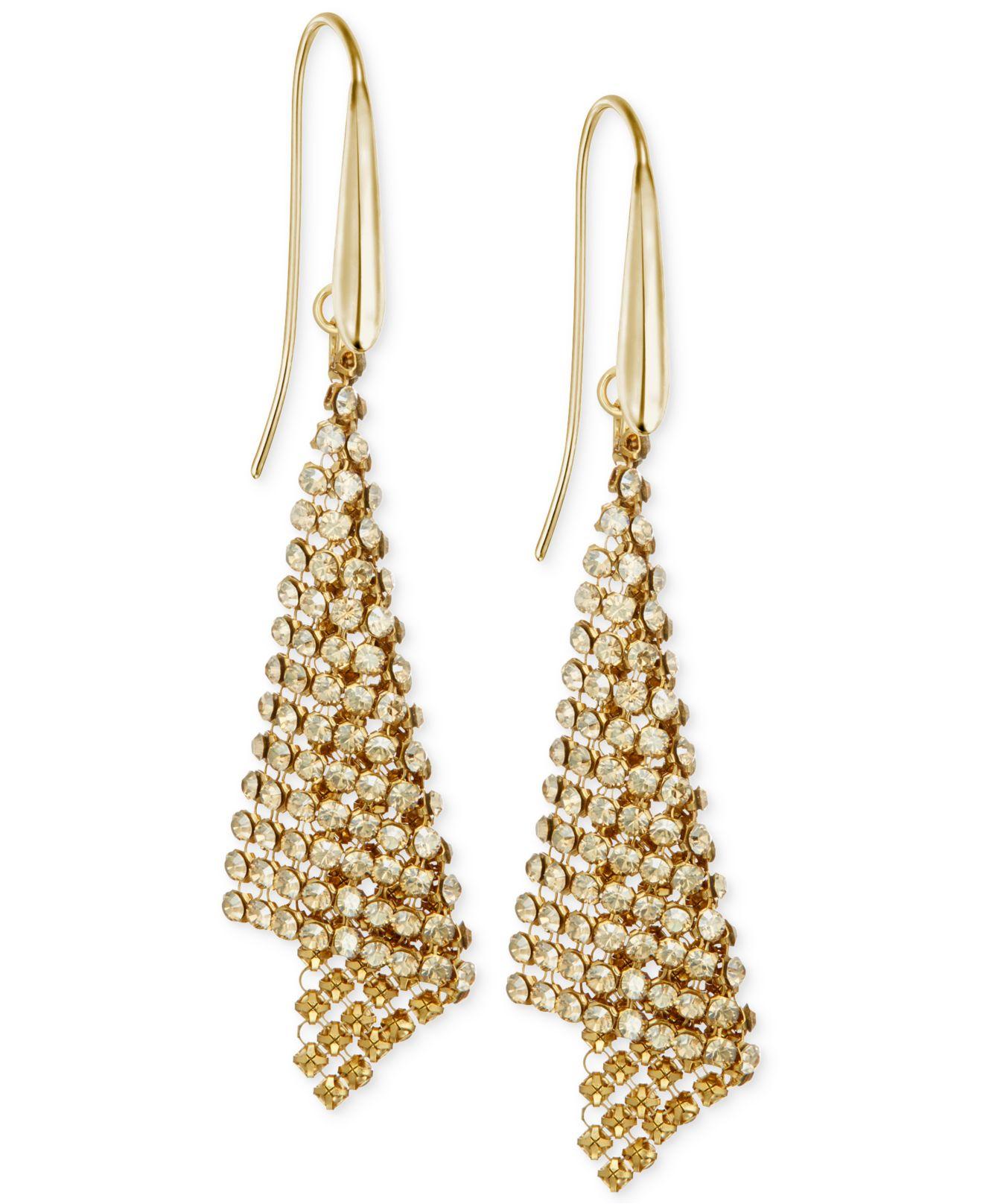 Swarovski Metallic Gold Tone Crystal Mesh Drop Earrings