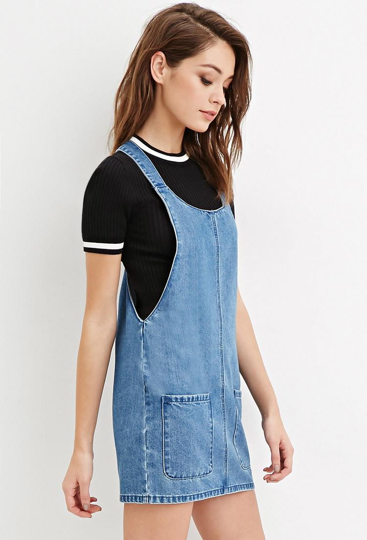 lyst forever 21 denim overall dress in blue
