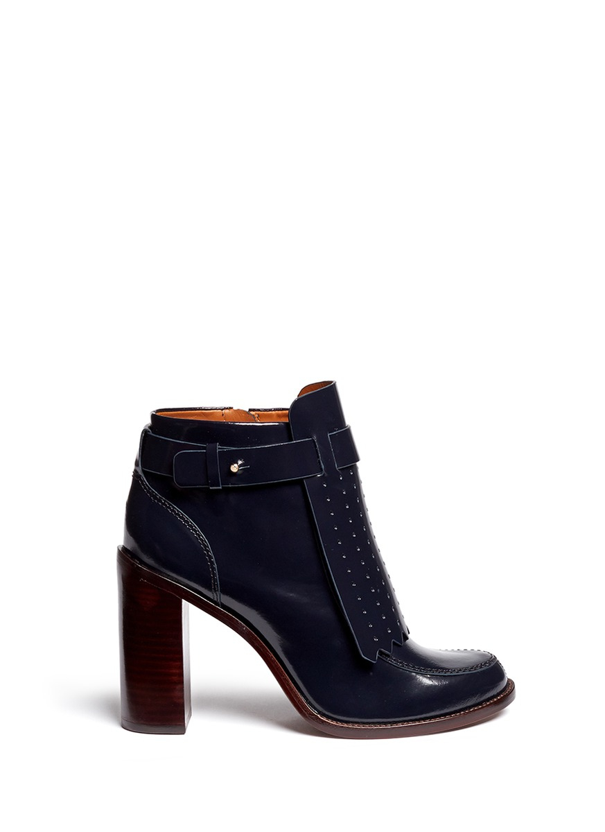 fe7eaefcafd1d0 Lyst - Tory Burch  hyde  Kiltie Flap Leather Boots in Blue