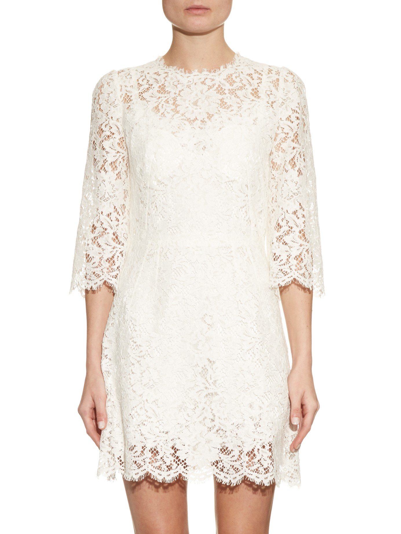 e6a4e83d7e76 In Scallop Trimmed Floral Lyst Lace Dolce Dress White Gabbana amp  XfqFI0