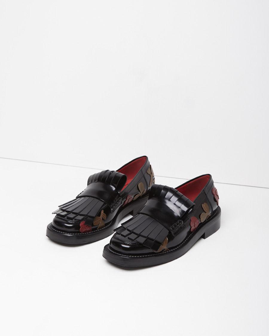 Marni Floral-Appliquéd Leather Brogues in Black