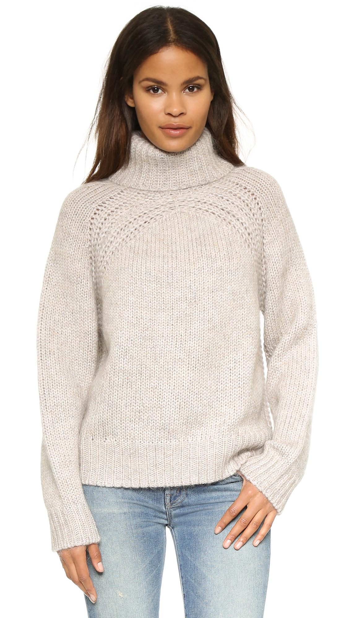 Raquel allegra Turtleneck Pullover Sweater in Natural | Lyst