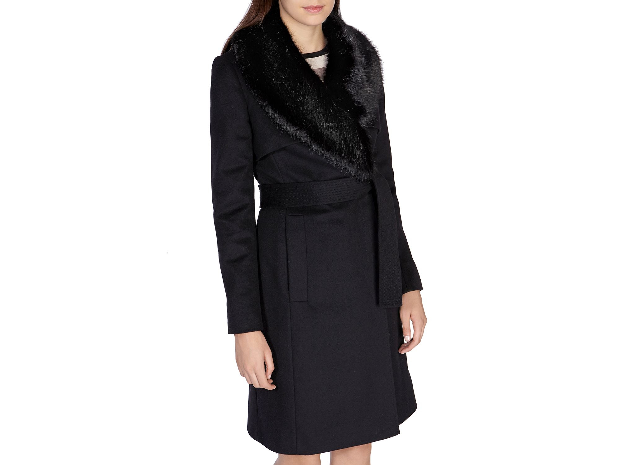 Karen millen Faux Fur Collar Coat in Black | Lyst