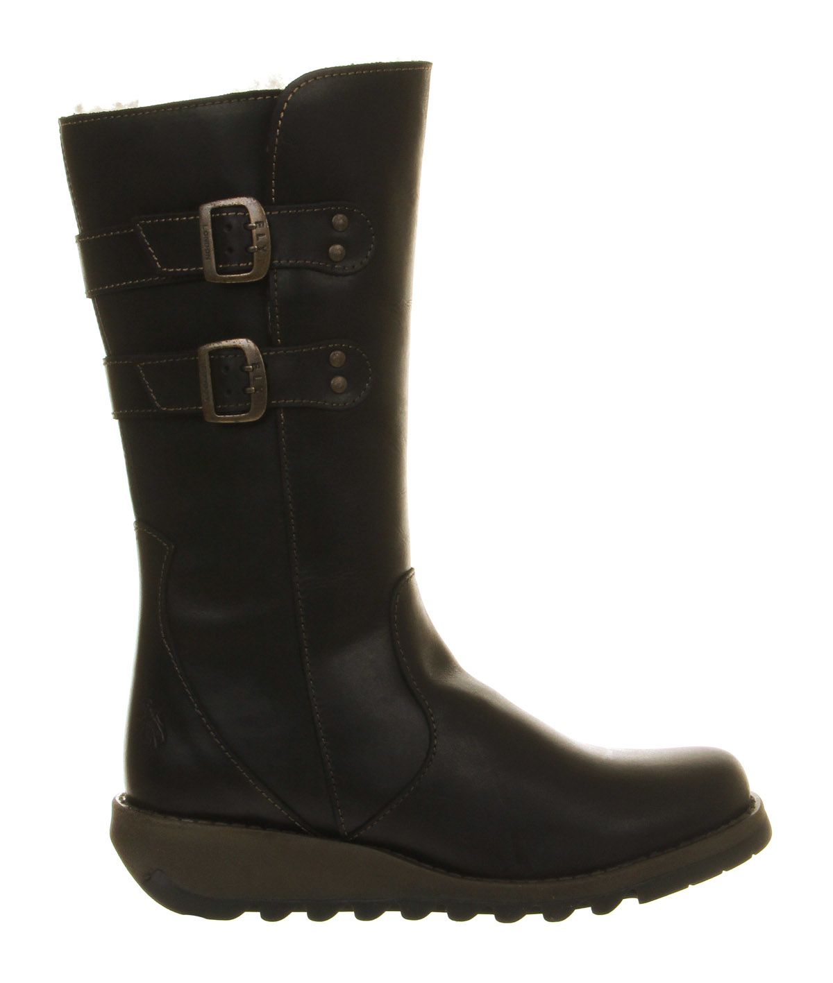 fly suli low wedge buckle boots in black lyst