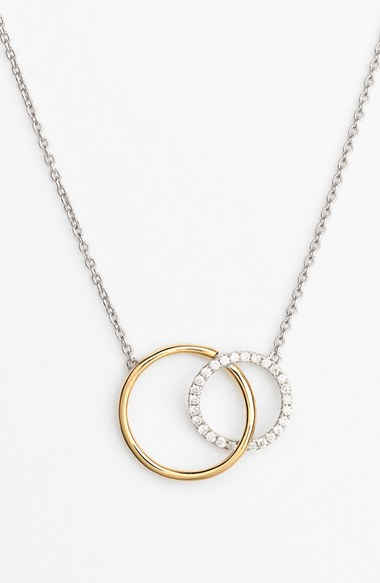 Lyst bony levy eclipse two tone diamond circle pendant necklace gallery mozeypictures Images