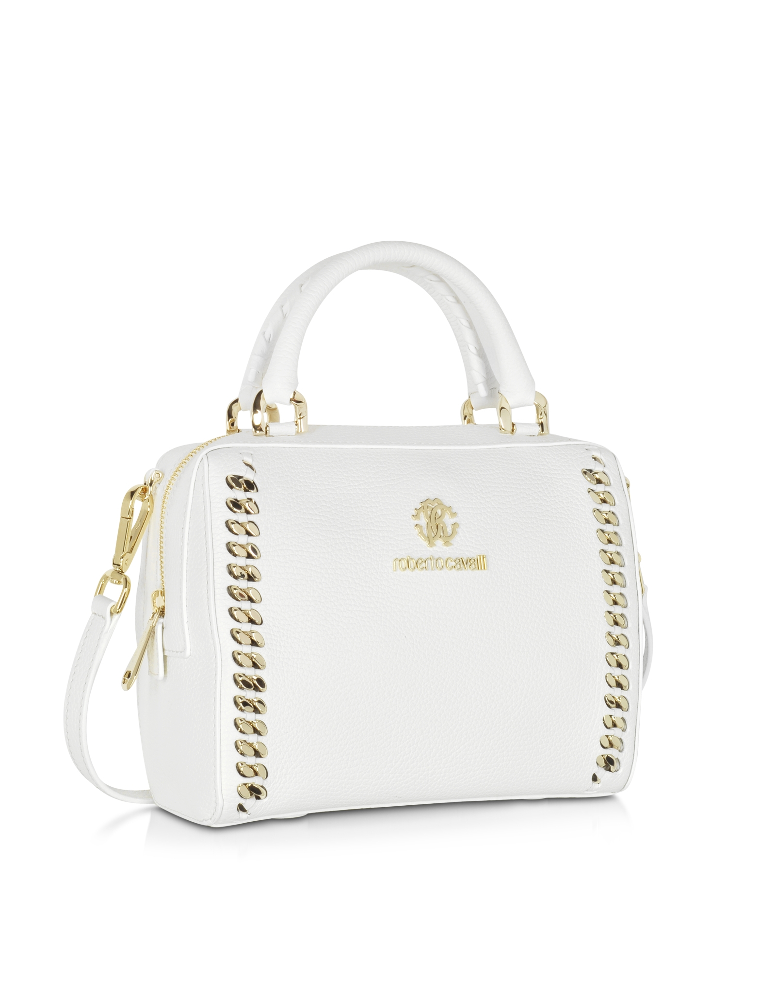 Roberto cavalli Boston Mini Off White Leather Handbag in White | Lyst