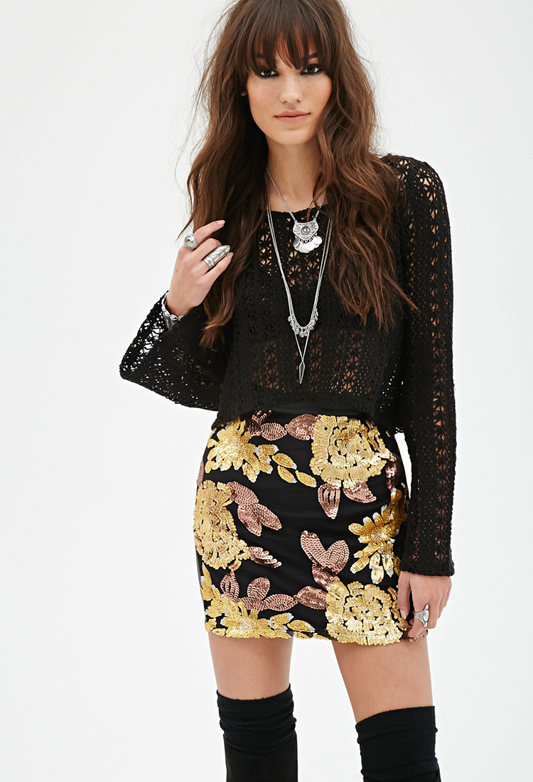 Forever 21 Sequined Faux Leather Skirt in Black | Lyst