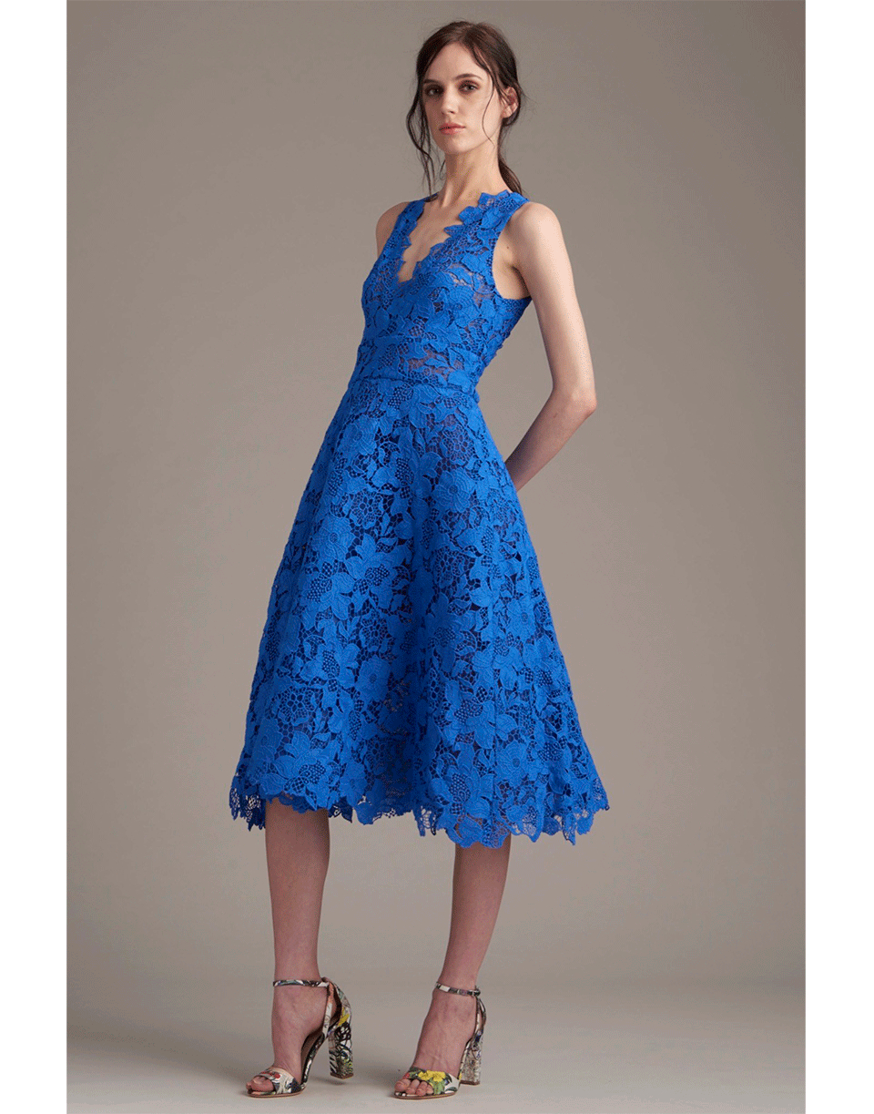 Blue Tea Length Dresses