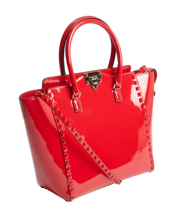 Valentino Red Patent Leather Studded Detail Convertible Shoulder ...