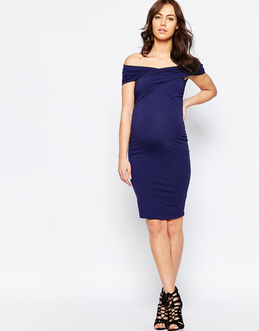 Lyst asos midi bodycon dress with twist off shoulder in blue gallery ombrellifo Image collections