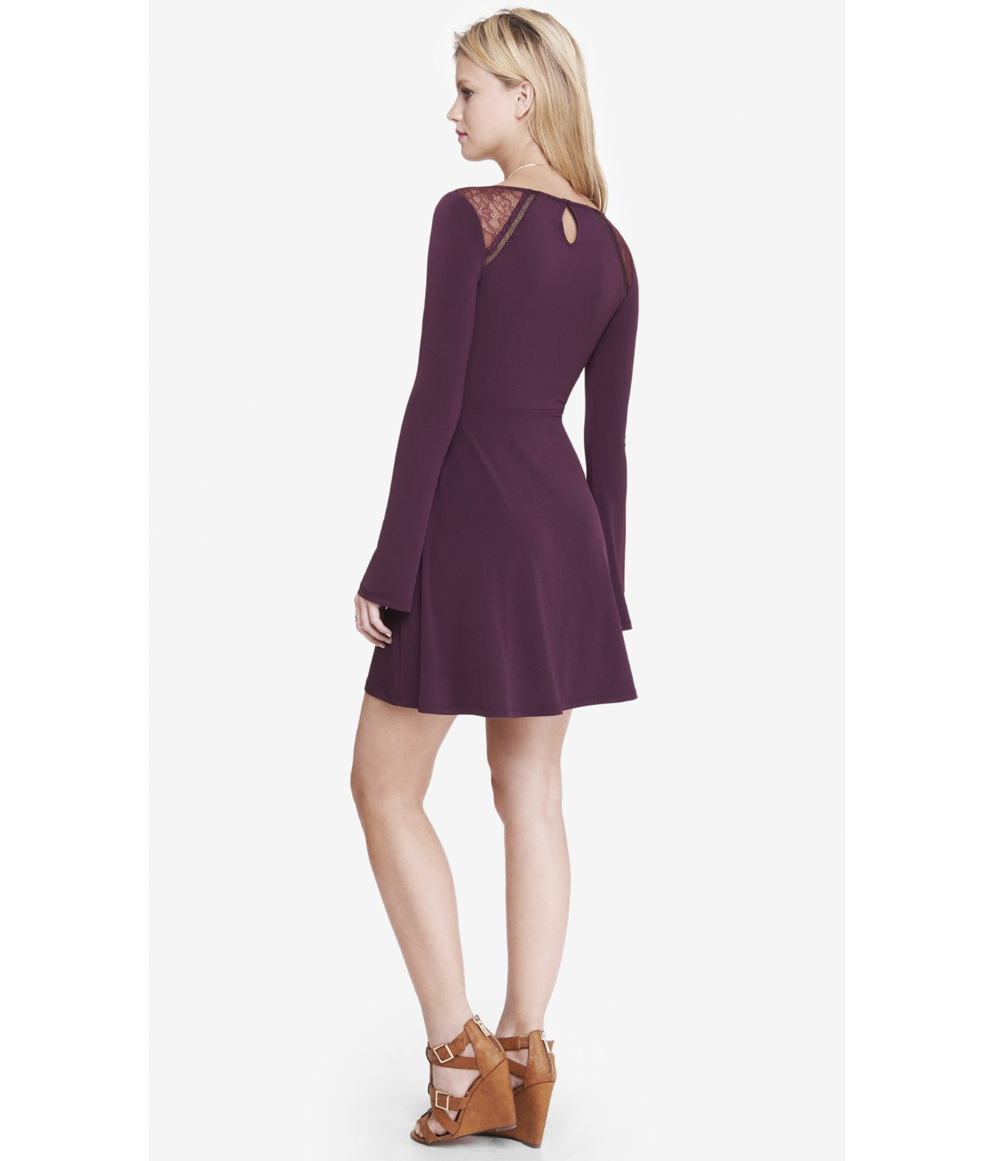 Lyst - Express Bell Sleeve Fit And Flare Dress in Purple
