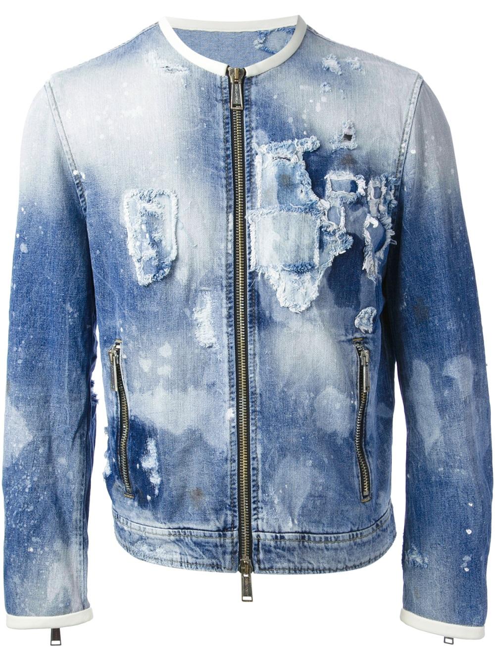 Dsquared² Bleached Denim Jacket In Blue For Men