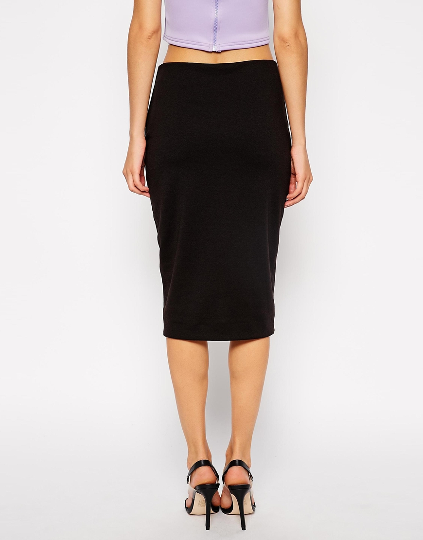 Asos Pencil Skirt With Curved Centre Front Split in Black | Lyst
