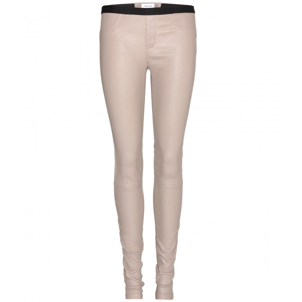 Helmut lang Leather Leggings in Natural | Lyst