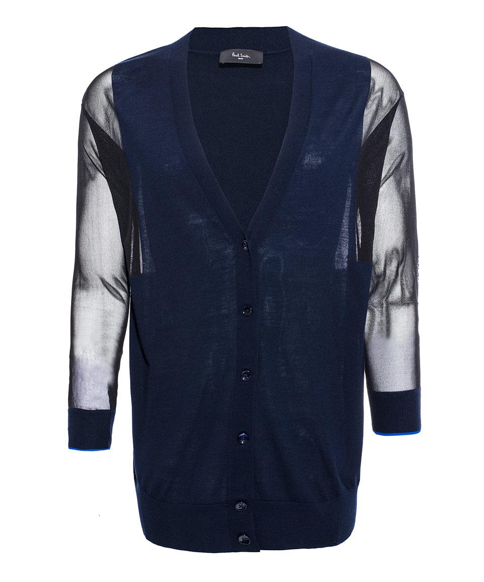 Paul smith black label Navy Sheer Sleeve Merino Wool Cardigan in ...
