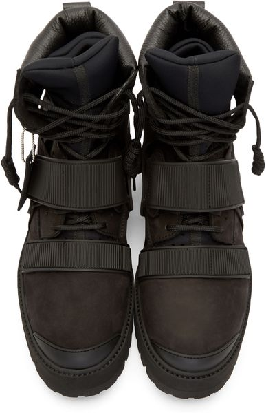 Hood By Air Black Suede And Rubber Avalanche Boots In