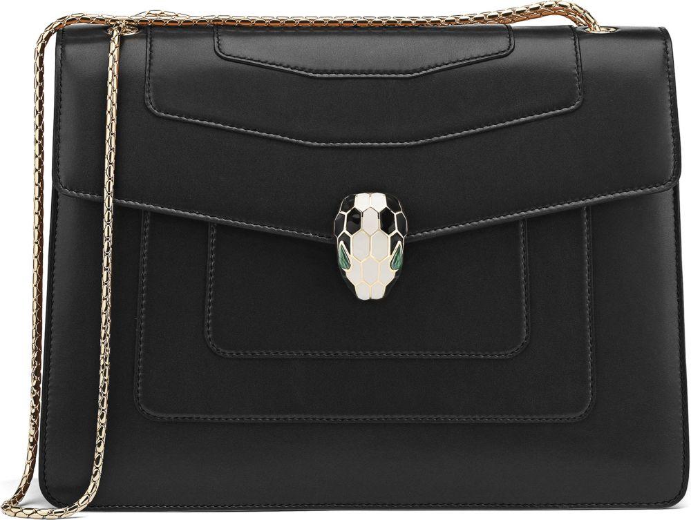 5f9242925110 BVLGARI Serpenti Forever Hobo Leather Shoulder Bag in Black - Lyst