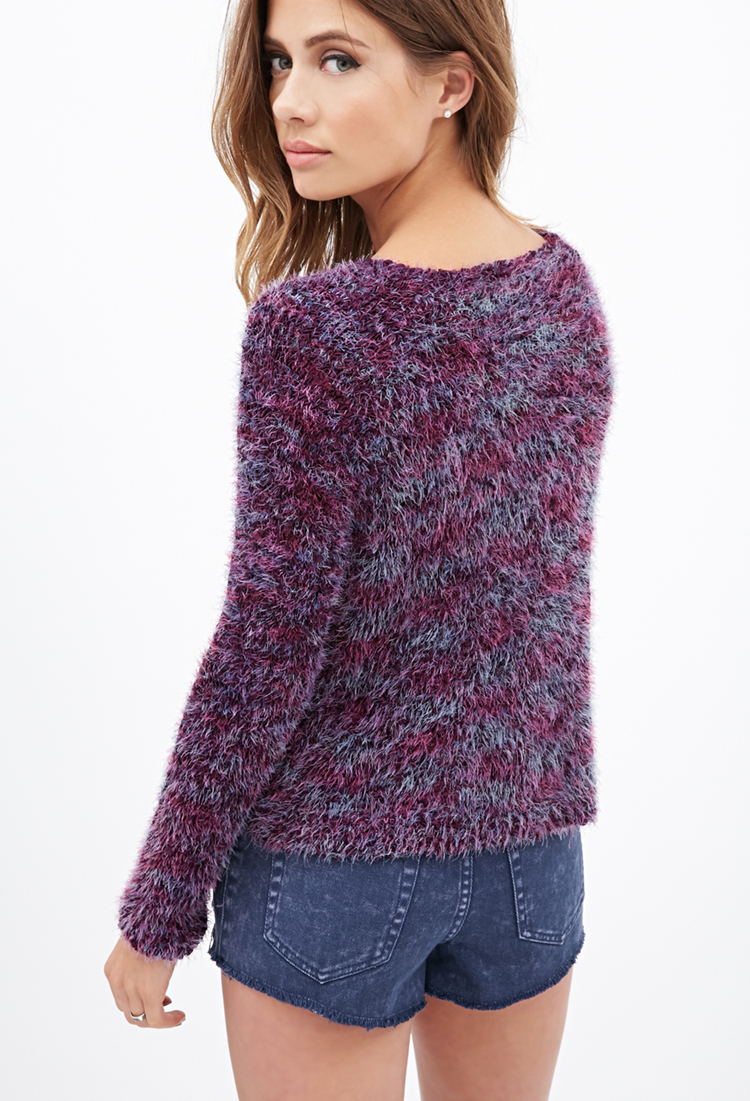 Forever 21 Multicolored Fuzzy Sweater In Purple Lyst