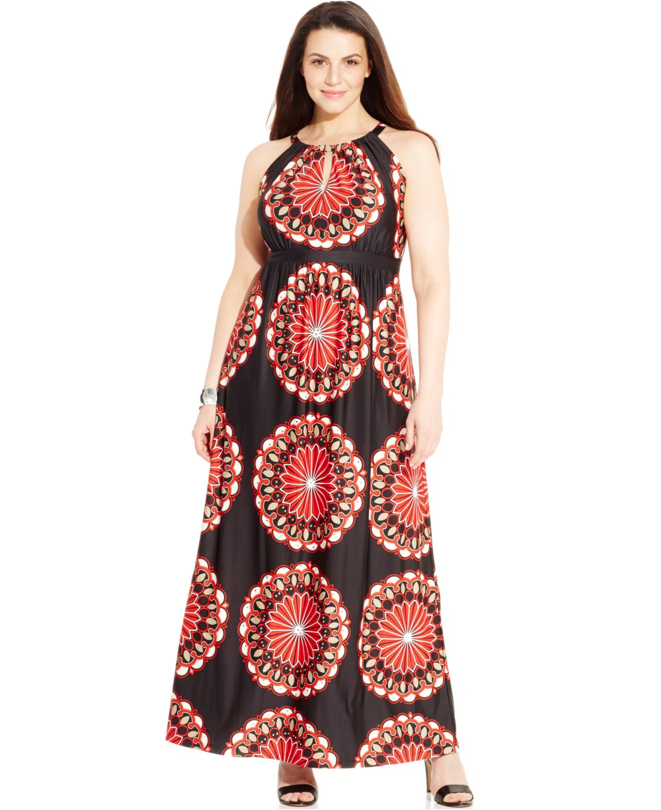 INC International Concepts Plus Size Printed Keyhole Maxi Dress in ...