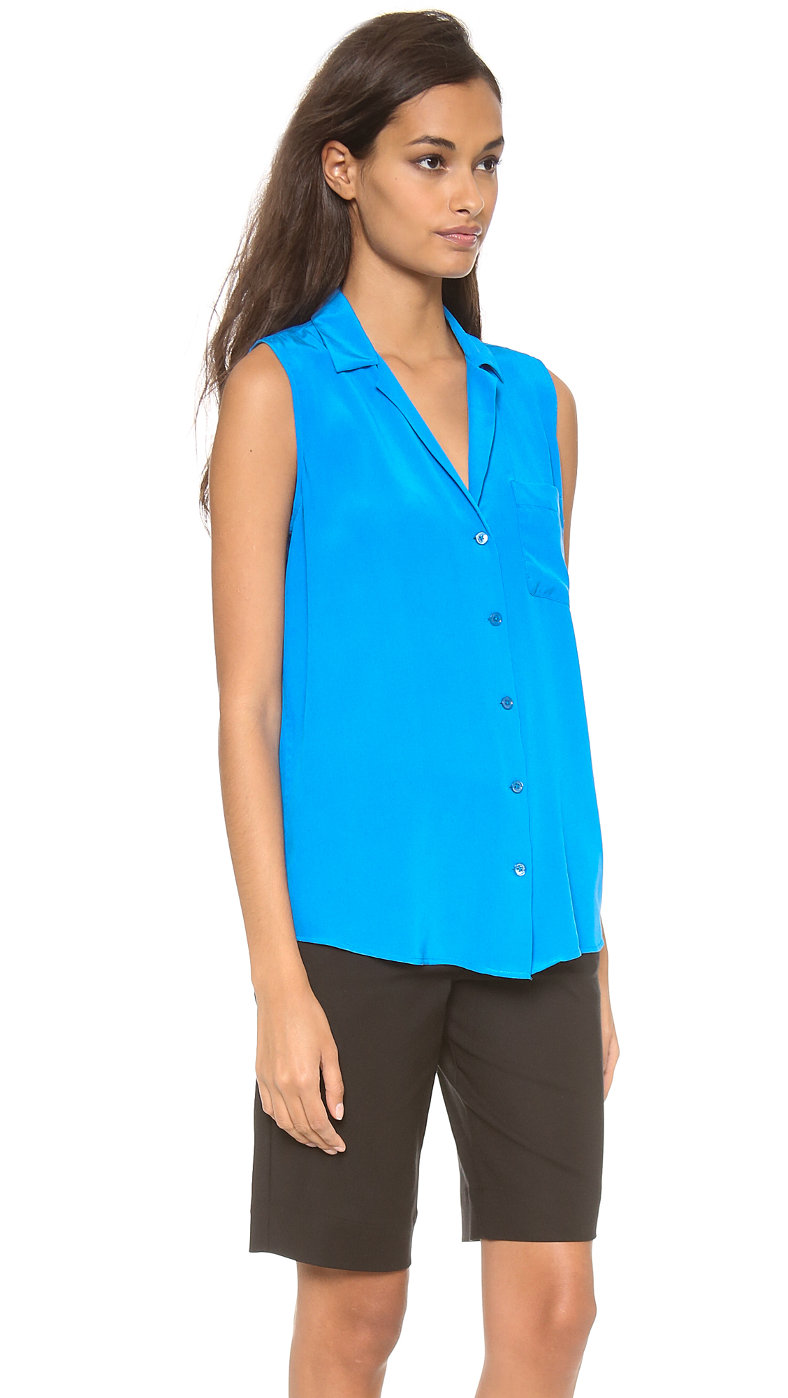 72ac0e27bf3bb Lyst - Equipment Keira Blouse in Blue