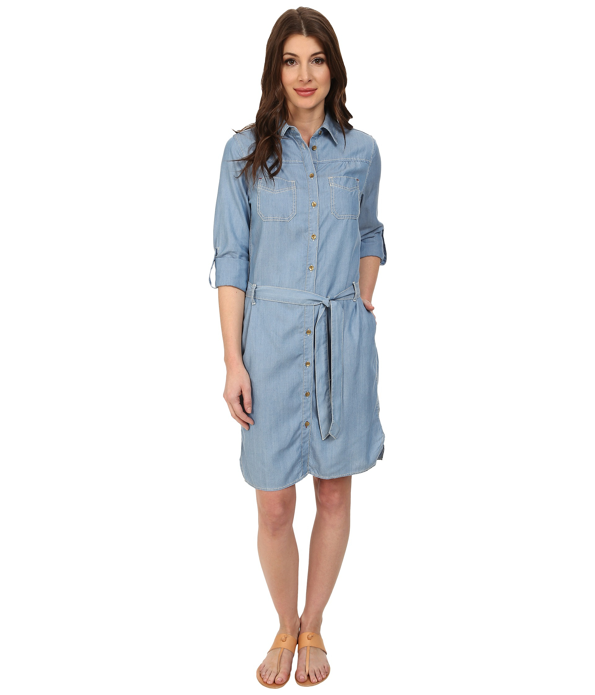 Jag jeans Olive Classic Fit Shirt Dress in Blue | Lyst