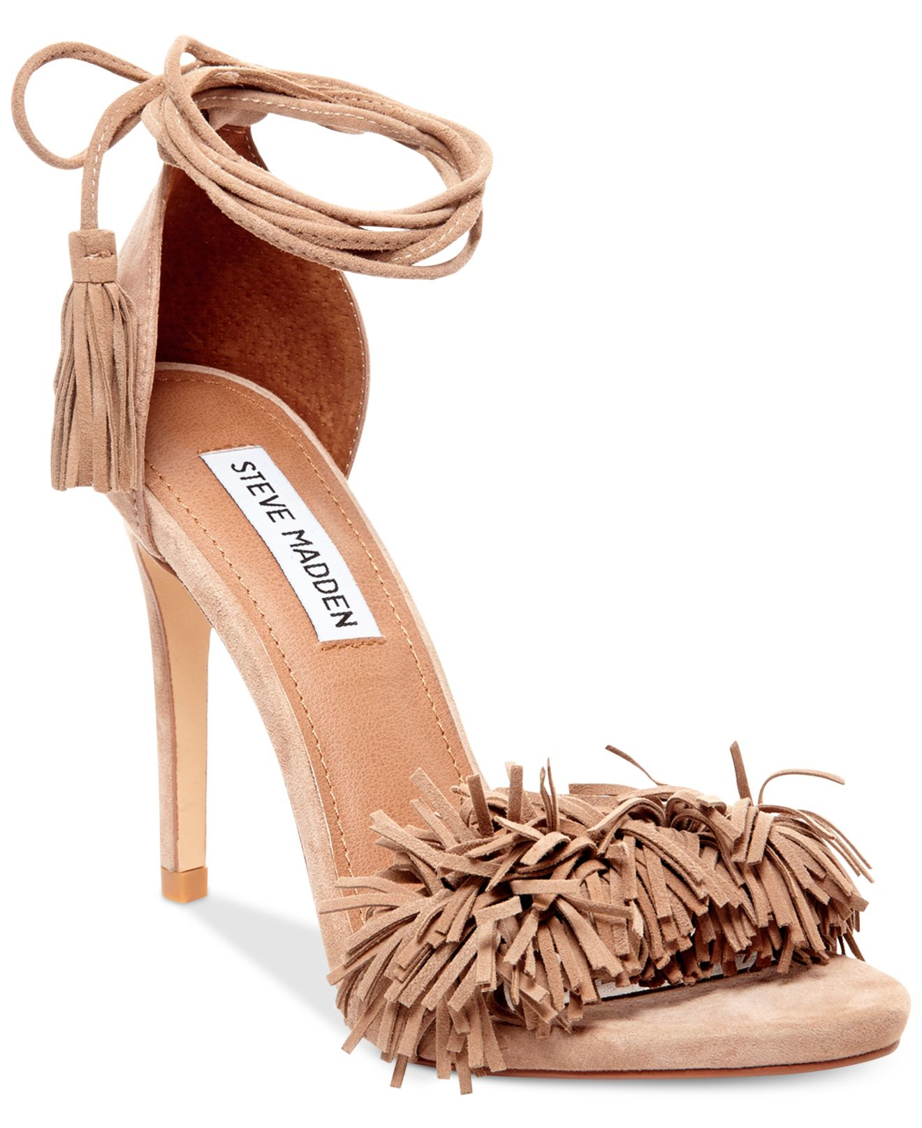 24bcb1de781c Lyst - Steve Madden Sassey Two-piece Fringe Sandals in Pink