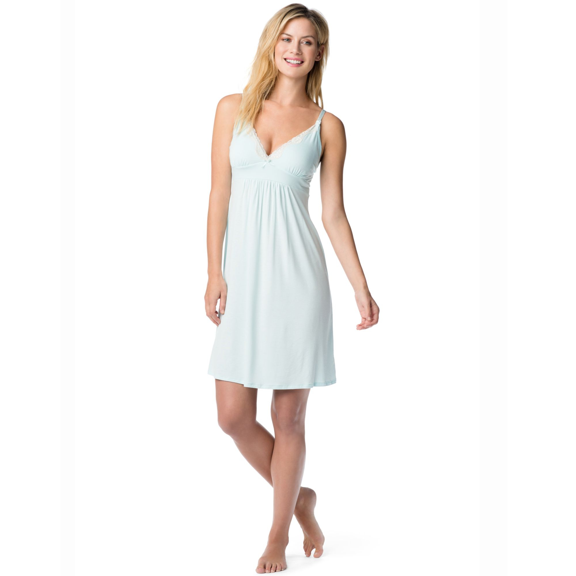 20adf59681d07 Jessica Simpson Maternity Twopiece Nursing Nightgown Set in Blue - Lyst