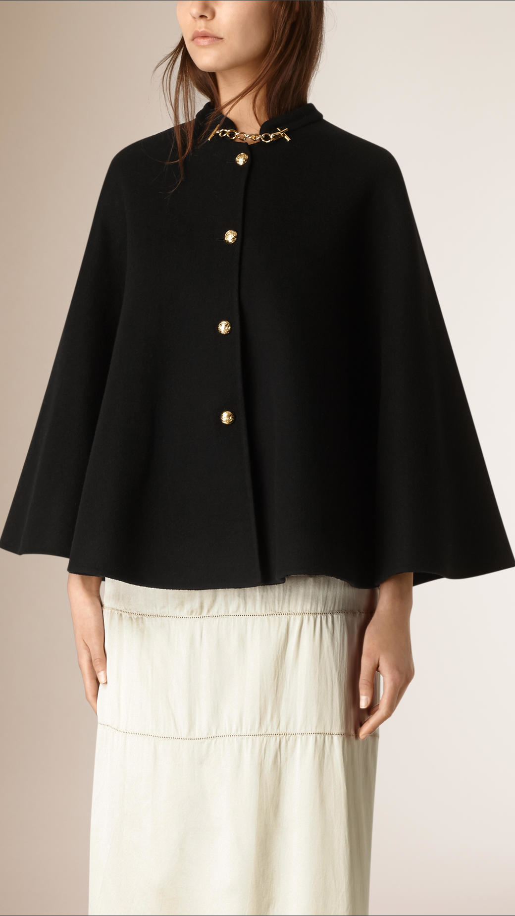 Burberry Military Detail Cashmere Cape In Black Lyst