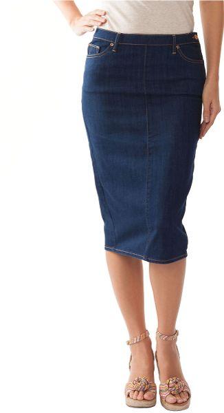 dittos denim midi pencil skirt in blue lyst