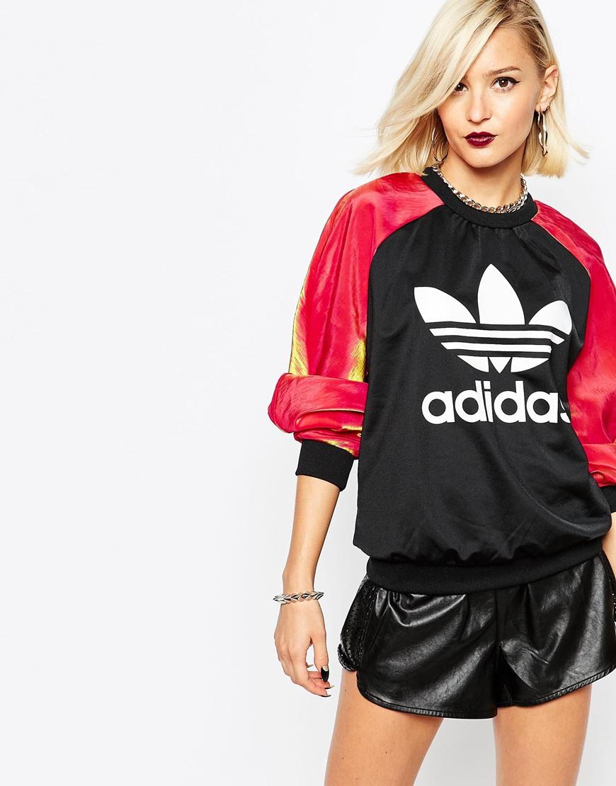 black adidas originals crew neck sweatshirts