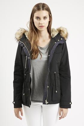 Topshop Jaxson Faux Fur Short Parka in Black | Lyst