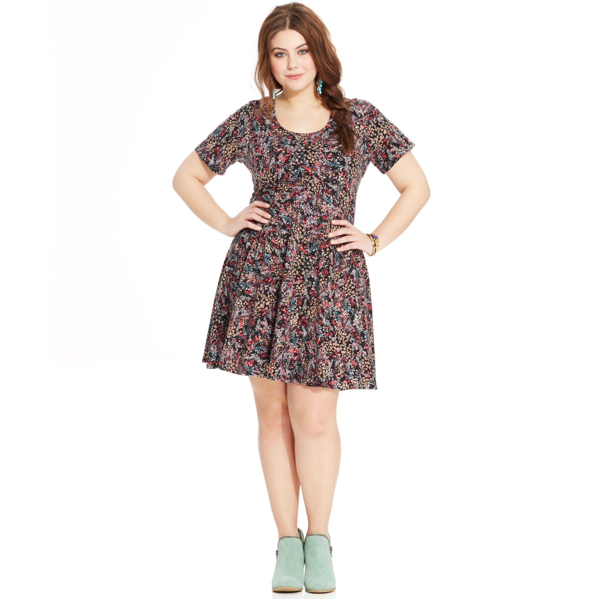 Lyst American Rag Plus Size Shortsleeve Floralprint Aline Dress In