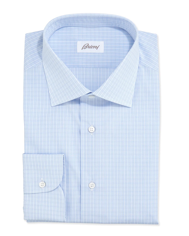 Lyst Brioni Grid Check Dress Shirt In Blue For Men
